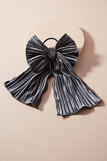 Pleated Velvet Bow Pony Holder