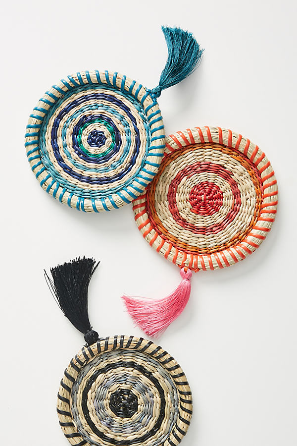 Rosa Woven Coaster - Black, Size Coasters