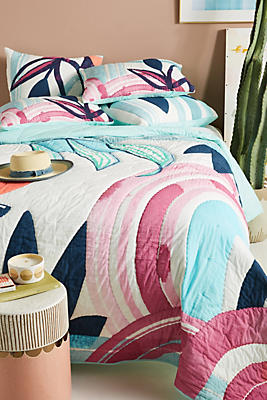 Slide View: 1: Brushed Blooms Quilt