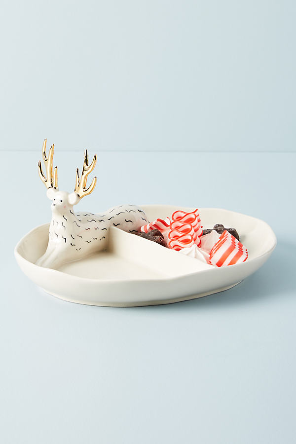 Fauna Fete Split Stag Bowl - White, Size Pasta