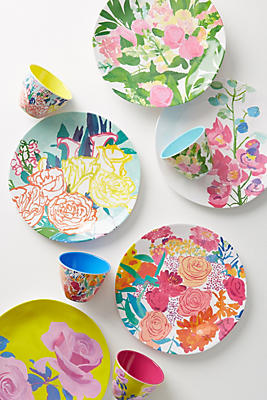 Slide View: 2: Paint + Petals Melamine Dinner Plate
