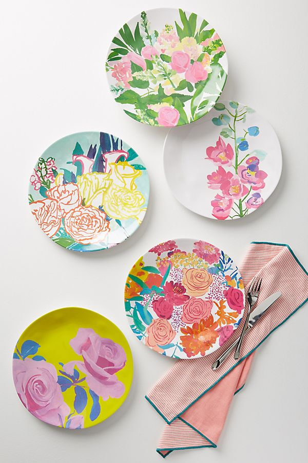 Paint Petals Melamine Dinner Plate Anthropologie