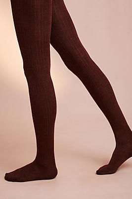 Slide View: 1: Ribbed Wool Tights