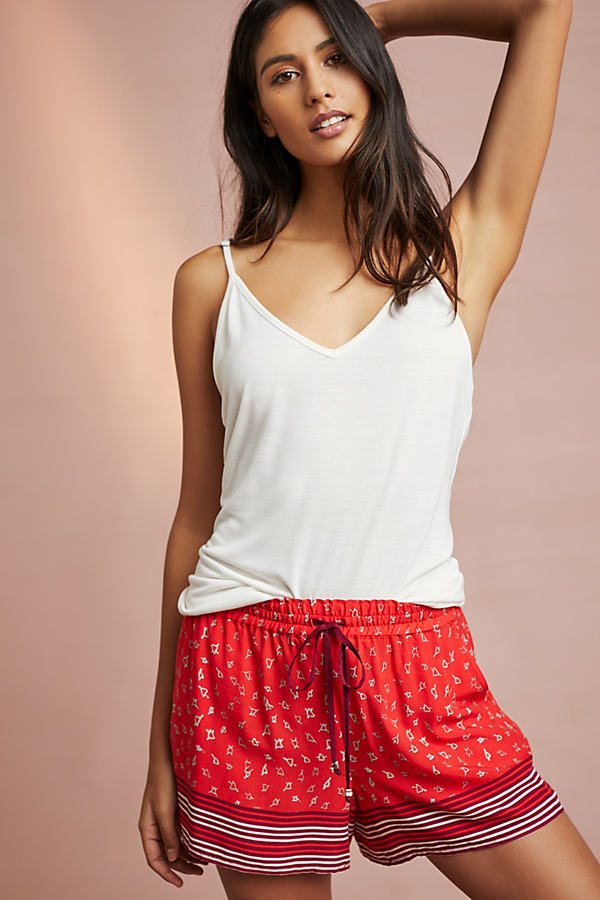 Floreat Sweatheart Sleep Shorts - Red Motif, Size S