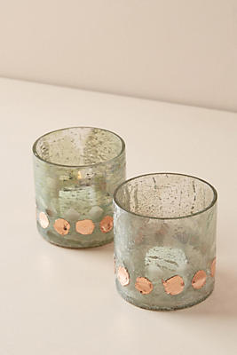 Slide View: 1: Gilded Dot Votive Set