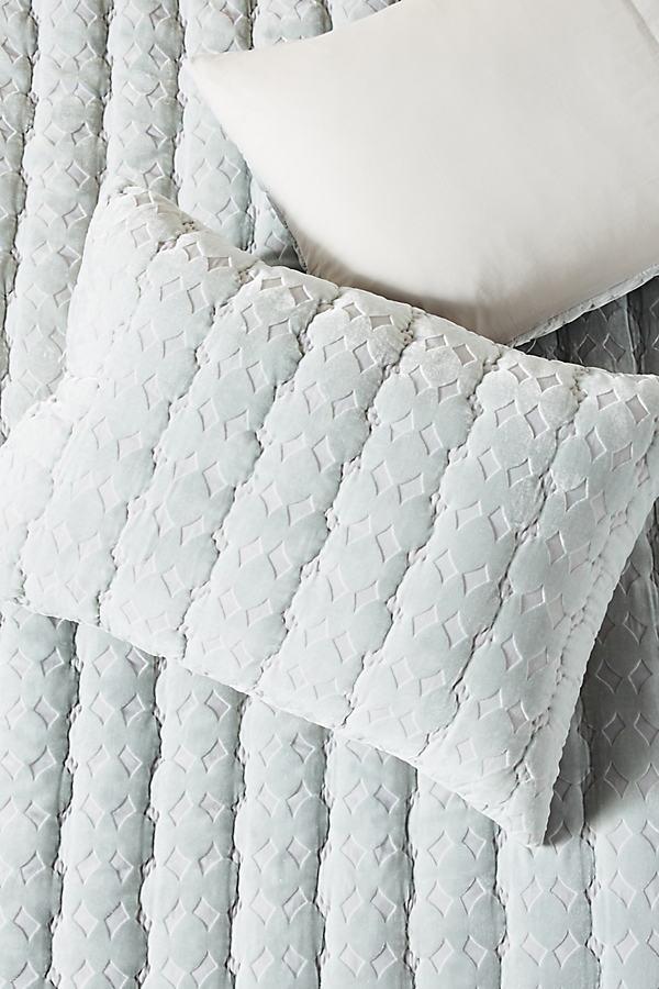 Velvet Ellery Pillowcases - Silver, Size Std Shams