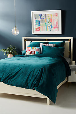Slide View: 1: Velvet Thelma Duvet Cover + Sham Set