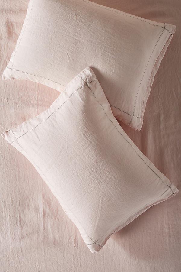Stitched Linen Pillowcases - Orange, Size Std Shams