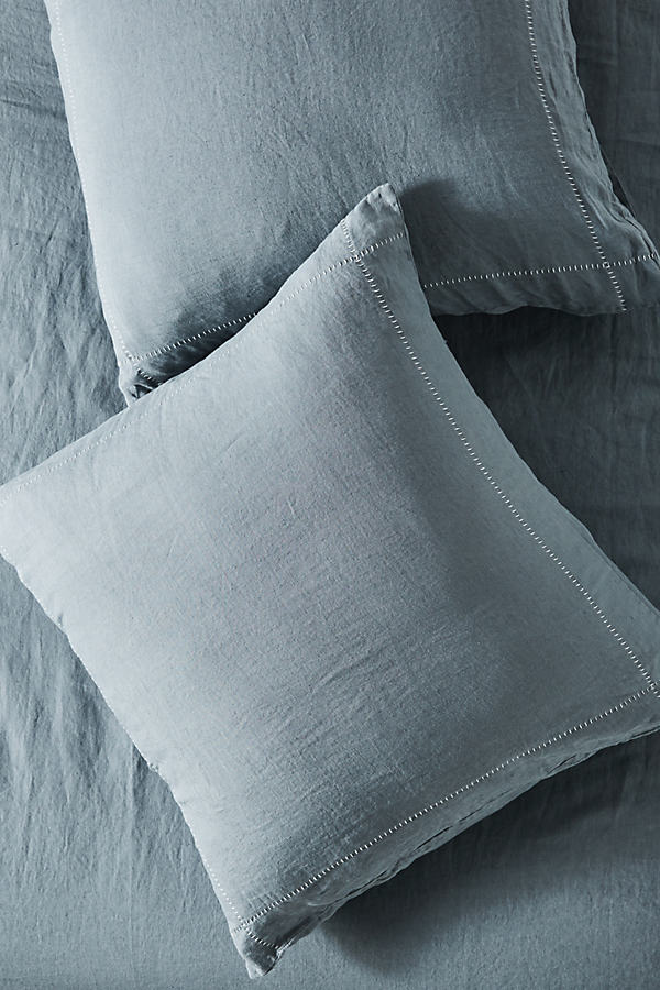 Stitched Linen Square Pillowcase - Blue, Size Euro Sham