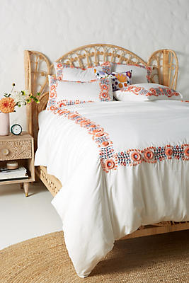 Slide View: 1: Embroidered Petunia Duvet Cover