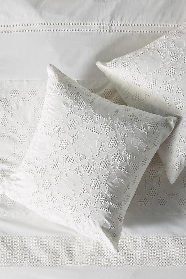 Corrine Eyelet Square Pillowcase - White, Size Euro Sham