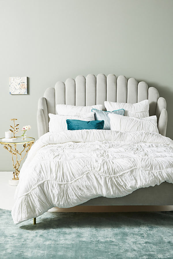Ruched Wave Quilt - White, Size Full