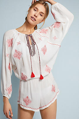 Slide View: 1: Nador Rhea Embroidered Romper