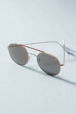 Round Aviator Sunglasses  -    Rose Gold & Black