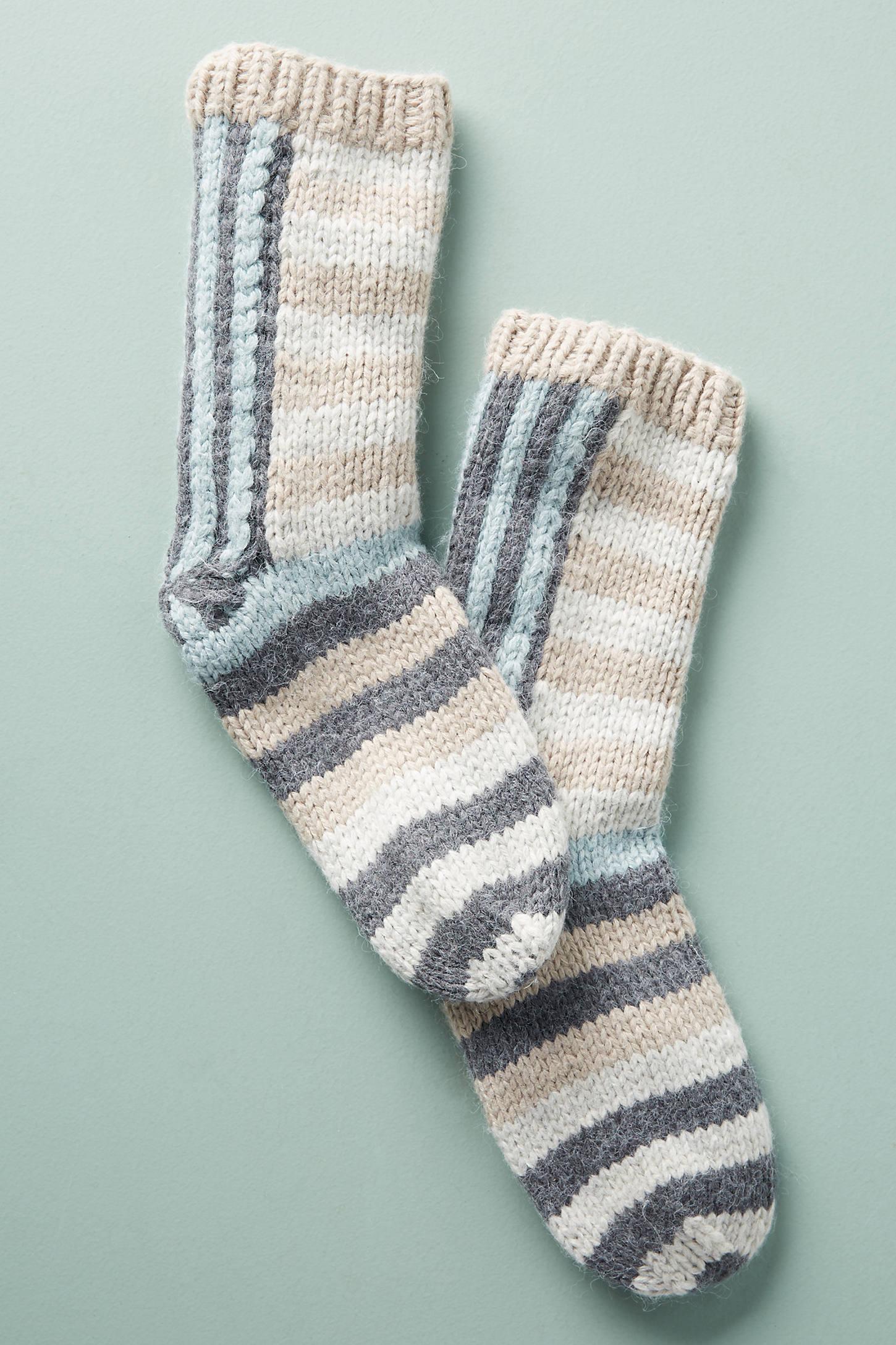 Striped Knit Crew Socks