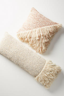 Slide View: 3: Fringed Waffleknit Pillow