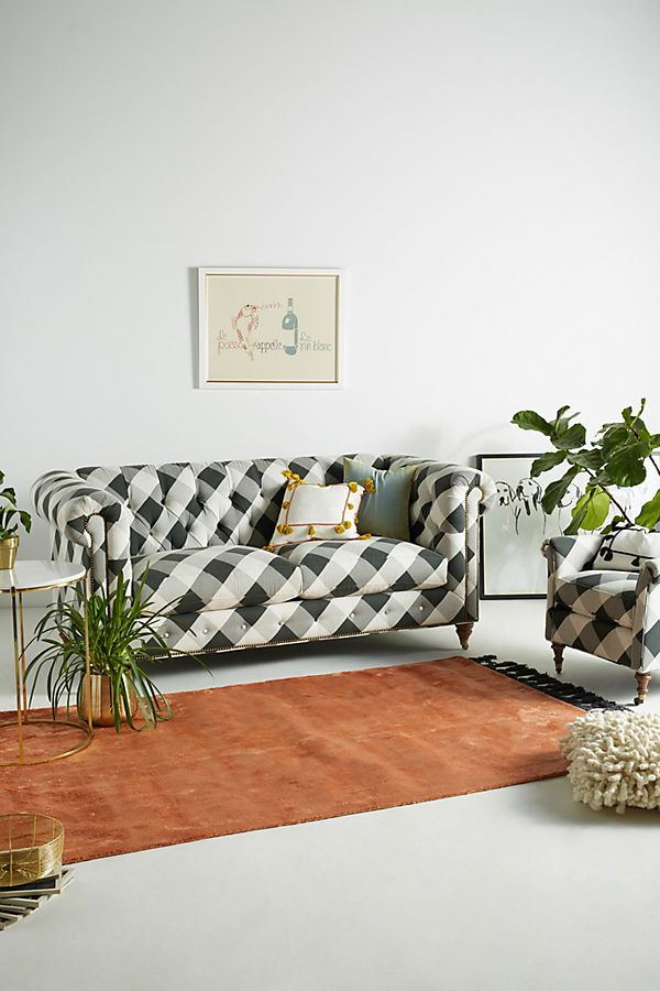 Slide View 1 Buffalo Check Lyre Chesterfield Two Cushion Sofa