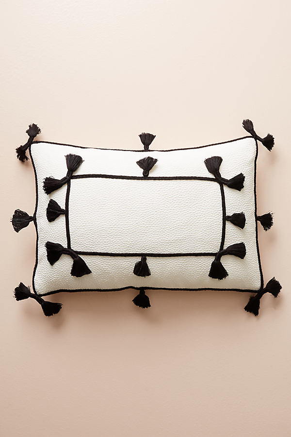 "Greta Tasseled Cushion - Lilac, Size 14"" X 20"""