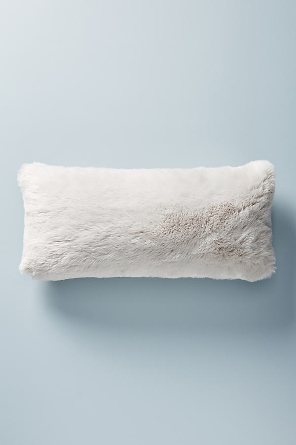 Fireside Faux-Fur Cushion - Grey, Size 12 X 27