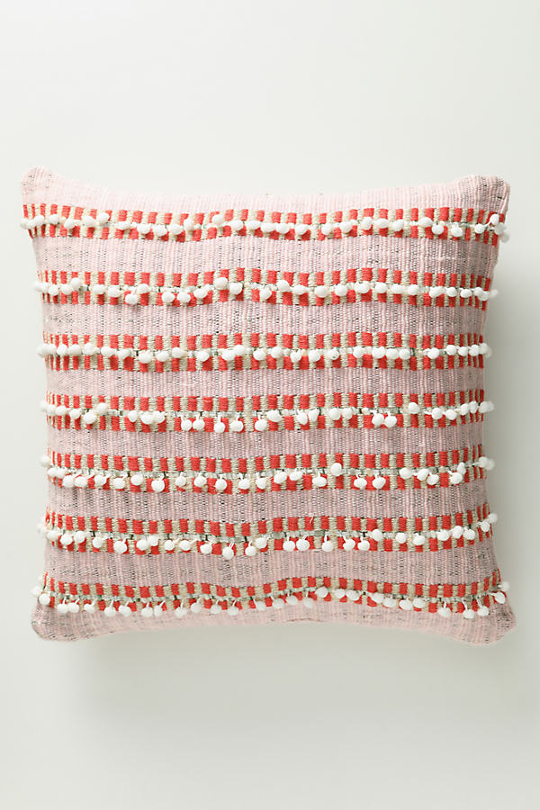 Metallic-Woven Pommed Cushion - Orange, Size King Bfrm