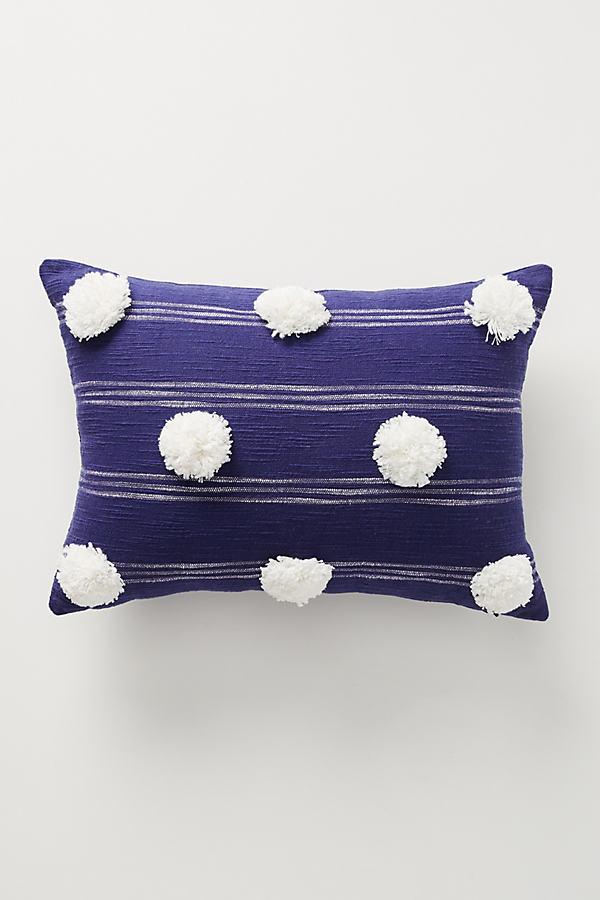"Pommed Felicity Cushion - Blue, Size 14"" X 20"""