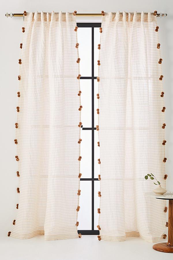 "Pom Tassel Curtain, Long - Gold, Size 108"""