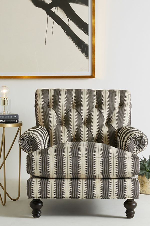 Slide View: 1: Suren-Striped Fan Pleat Chair