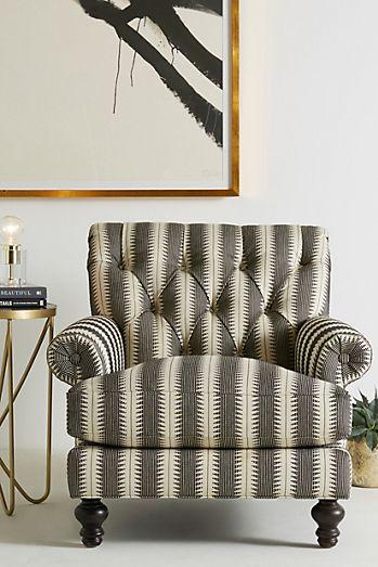 Suren striped fan pleat chair