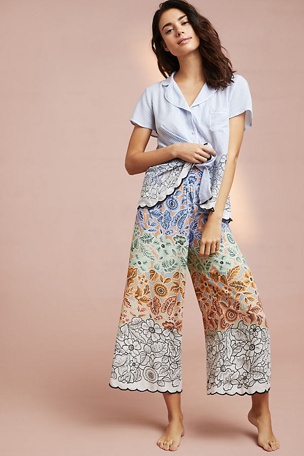 Floreat Colourblock Sleep Pants - Blue Motif, Size S