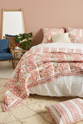 Block Printed Fields Quilt by Artisan Quilts By Anthropologie