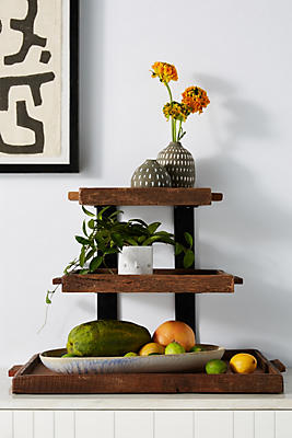 Slide View: 1: Reclaimed Wood Tiered Stand
