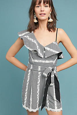 Slide View: 1: Embroidered Gingham Romper