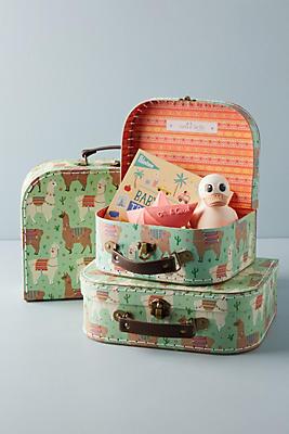 Slide View: 1: Llama Decorative Suitcase Set