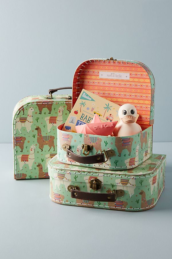 Slide View: 1: Llama Decorative Suitcase Set