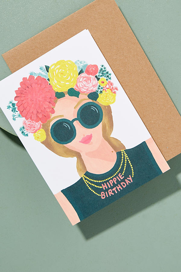 Hippie Birthday Card - Pink
