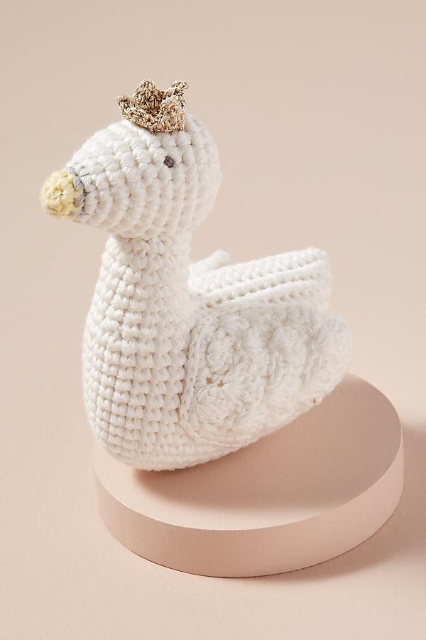Swan Crochet Rattle - White