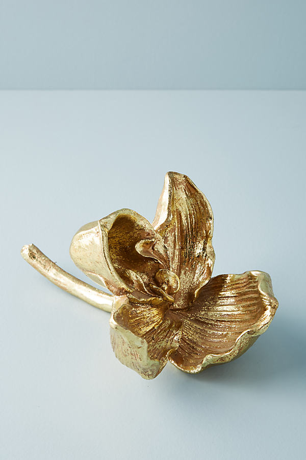 Gilded Orchid Decorative Object - Gold, Size S