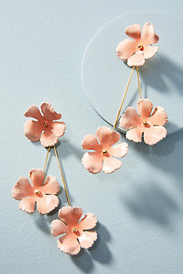 Anthropologie Painted Cherry Blossom Drop Earrings l9mP0R