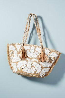 Antik Batik   Antik Batik Leah Tote Bag  -    WHITE