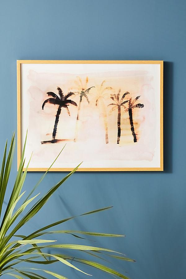 Faded Palm Wall Art - Pink