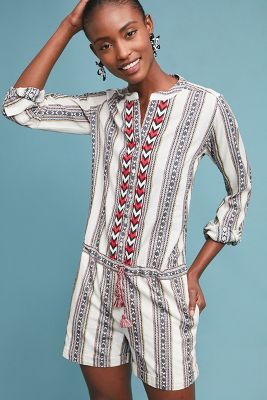 Berenice   Embroidered Tania Romper  -    NEUTRAL MOTIF