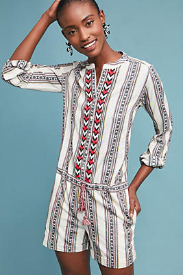 Slide View: 1: Embroidered Tania Romper