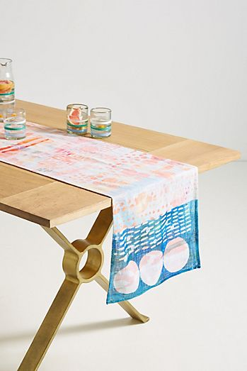 Green table linens table runners cloth napkins anthropologie oleta table runner workwithnaturefo