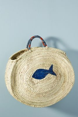 Painted Fish Straw Tote Bag by Maud Fourier Paris