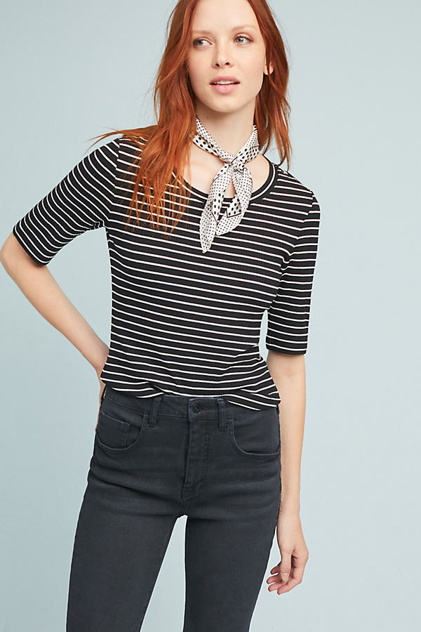 Miranda Striped Tee - Black Motif, Size S