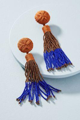 Mignonne Gavigan   Madison Beaded Tassel Drop Earrings  -    ORANGE MOTIF