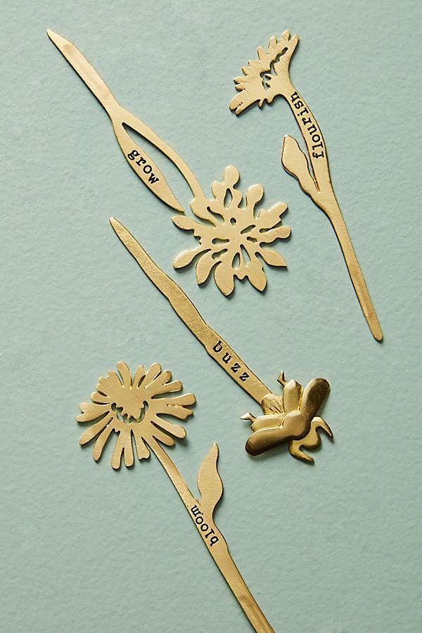 Pflanzen-Markerset aus Messing - Gold