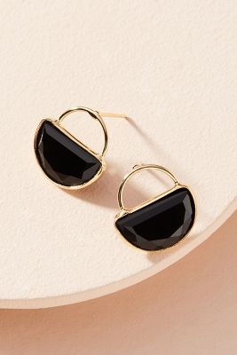 Cadence Petite Hooped Post Earrings  -    BLACK