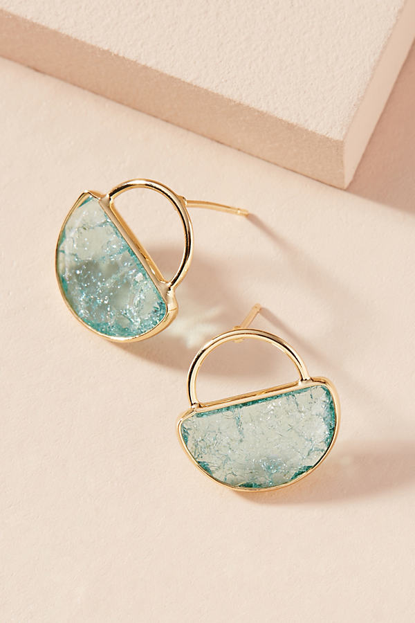 Cadence Petite Hooped Post Earrings - Turquoise
