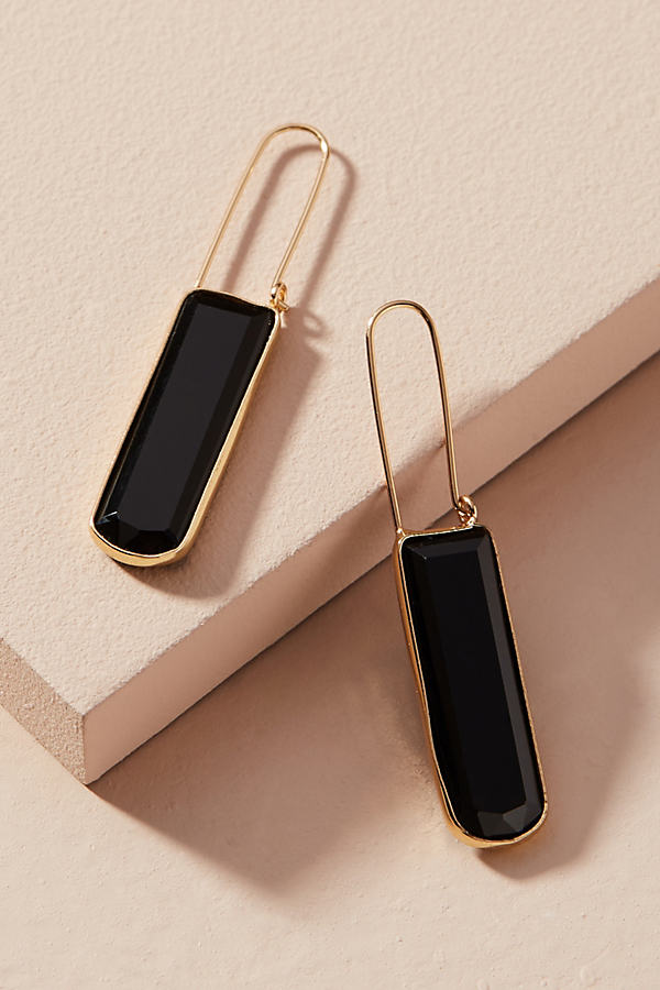 Cadence Linear Hoop Earrings - Black